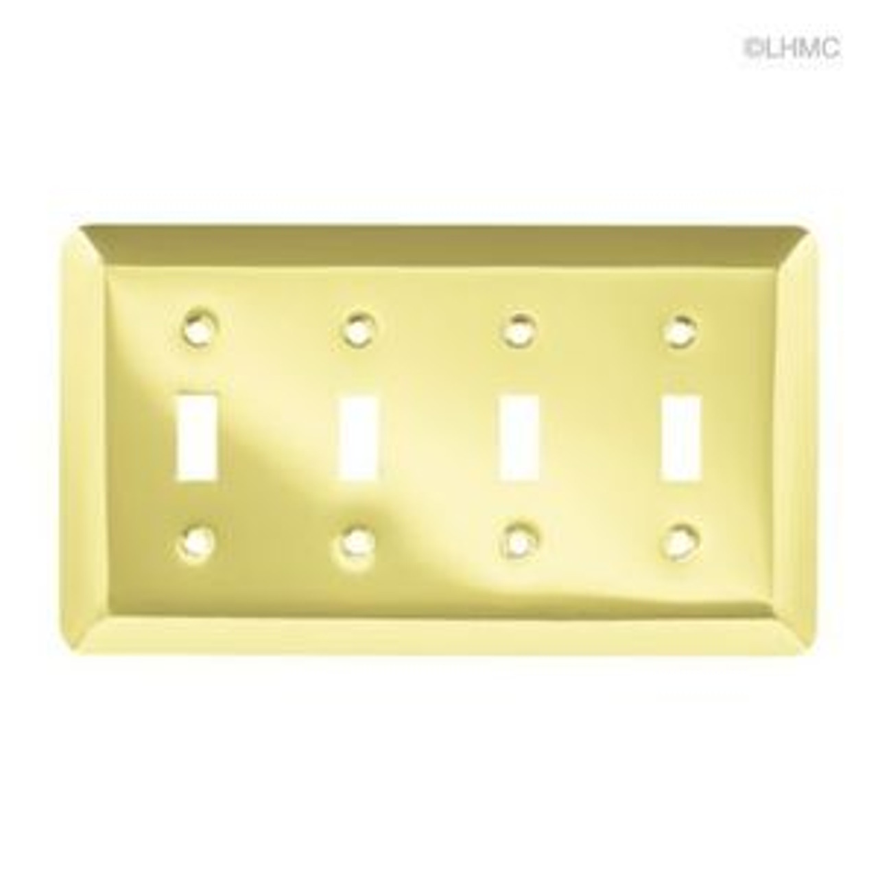 126530 Plated Brass Stamped Quad Switch Cover Plate