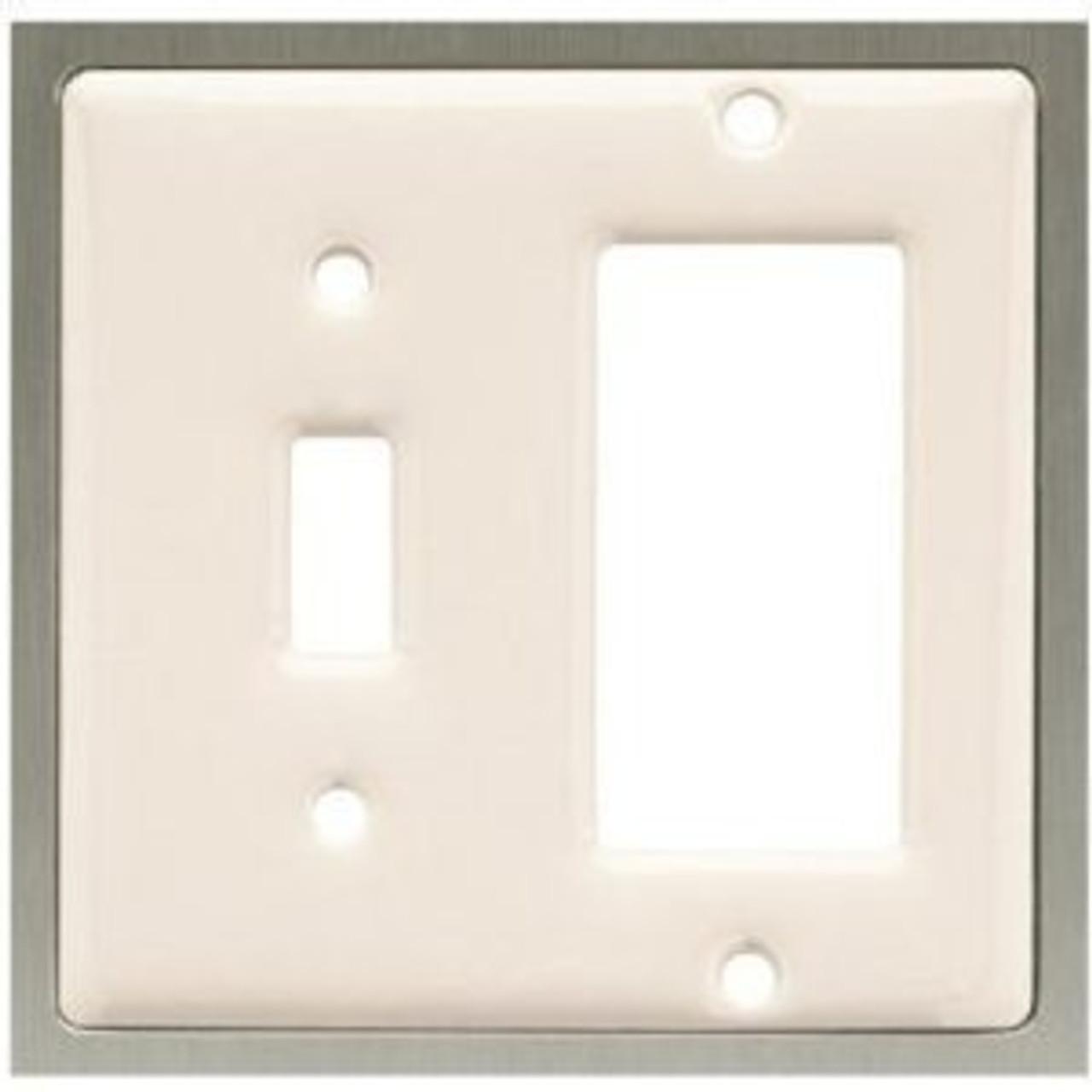 63985 Bisque Ceramic & Satin Nickel Single Switch Single GFCI Cover Plate