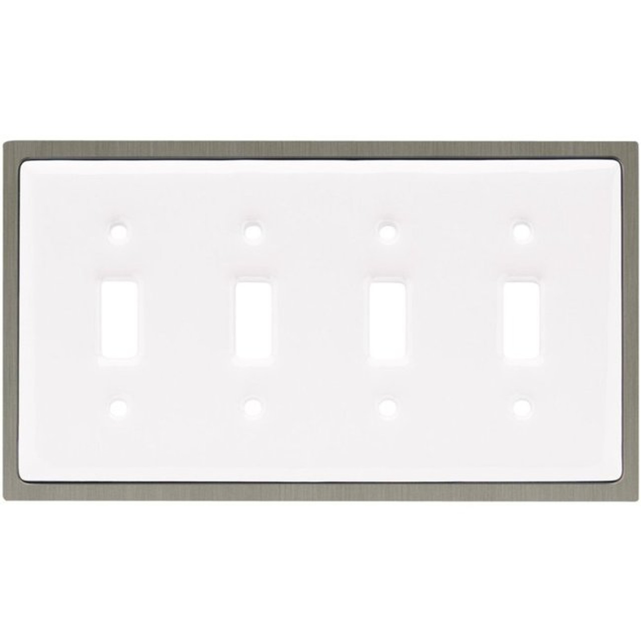 64012 White Ceramic & Satin Nickel Quad Switch Cover Plate