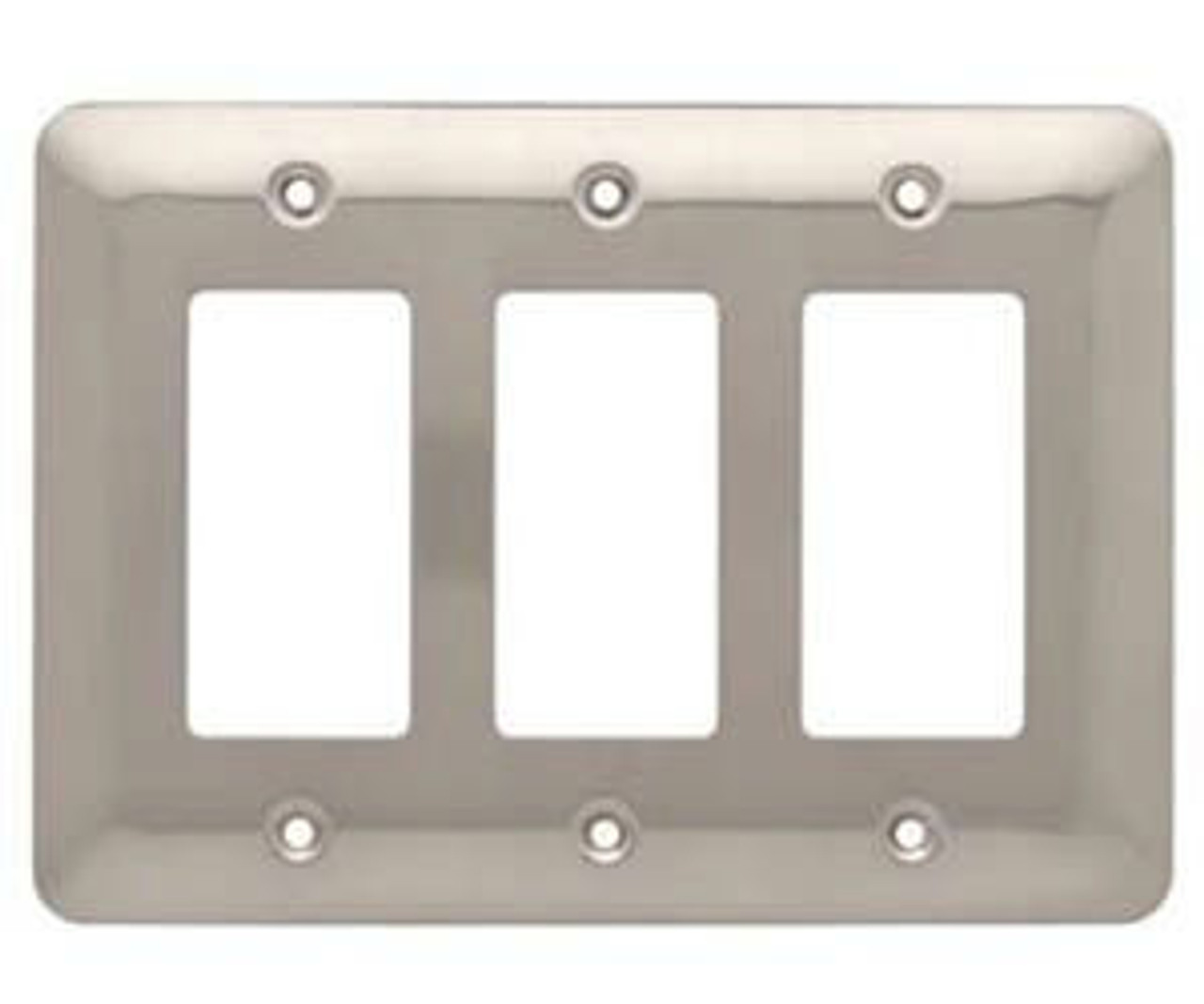 126442 Stamped Satin Nickel Triple GFCI Switch Cover Wall Plate