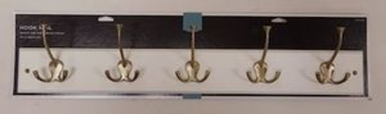 "085-03-1620 27"" 5 Hook Coat/Hat Rail White w/ Soft Brass Hooks"