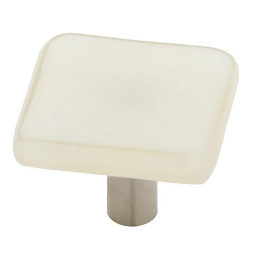 "HomeGrown 142366 1"" Handmade Fused Glass Vanilla Cabinet Drawer Knob"