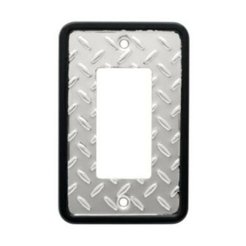 135860 Diamond Plate Chrome & Black Single GFCI Cover Plate
