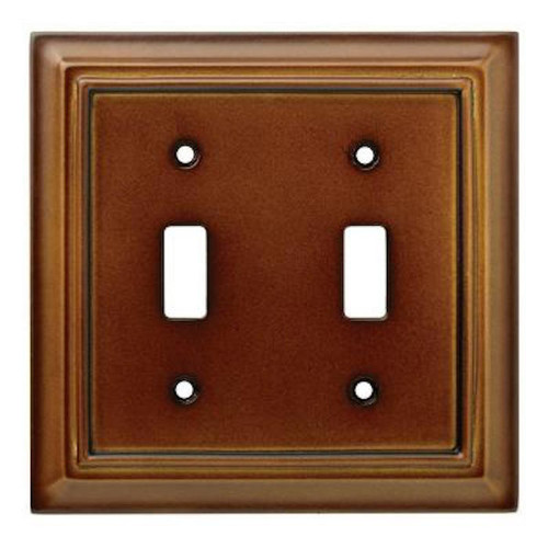 171913 Brown Architect Double Toggle Switch Cover Plate