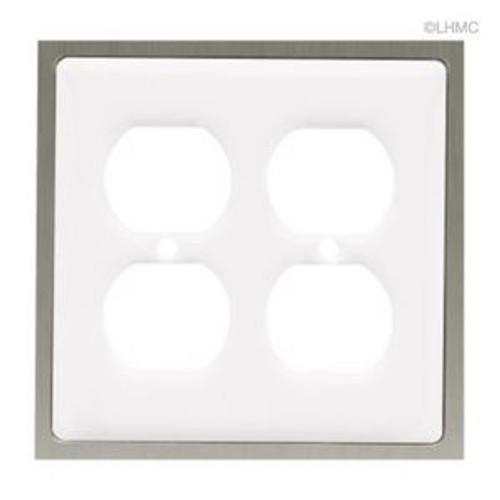 63998 Ceramic Insert White  Double Duplex Cover Plate