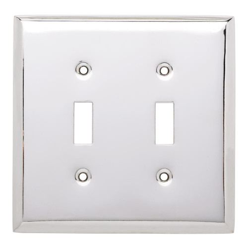 64094 Chrome Stamped Metal Double Switch Cover Plate