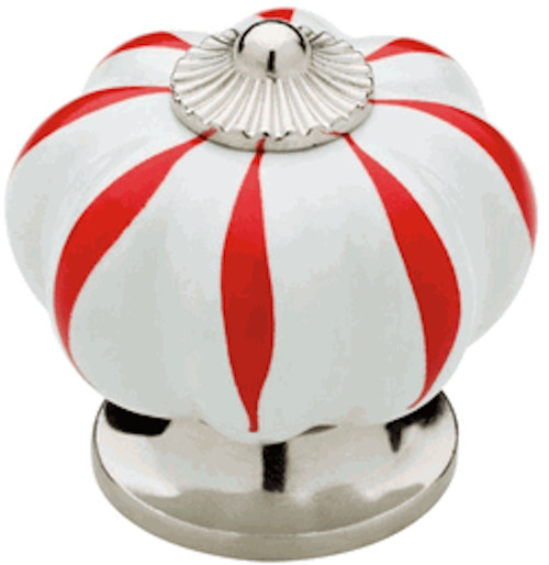 """847920 Polished Chrome & White w/ Red 1 1/2"""" Finial Cabinet Drawer Knob"""