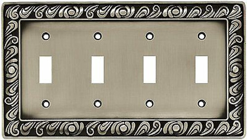 64041 Paisley Satin Pewter Quad Switch Cover Plate