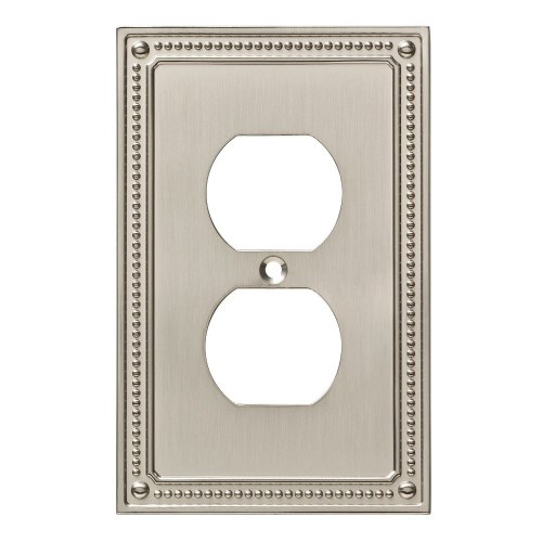 W35059-SN Satin Nickel Beaded Duplex Outlet Cover Plate