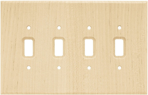 126797 Unfinished Wood Quad Switch Cover Wall Plate