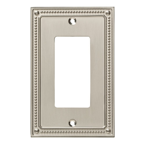 W35060-SN Classic Beaded Single GFCI Outlet Cover Plate Satin Nickel