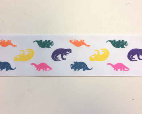 "Dinosaurs Fabric Grosgrain Ribbon 10 Yds 2 1/4"" Wide"