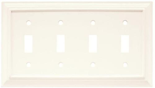 Hampton Bay W10765-W White Wood Architect Quad Switch Cover Wall Plate