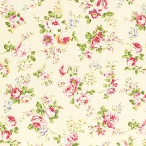 Tanya Whelan SATW059 Petal Scattered Roses Ivory Sateen Home Decor Fabric By Yd