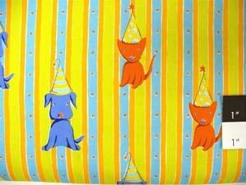 Free Spirit Felicity Miller Cat & Dog Stripe Orange Fabric 15 Yd Bolt