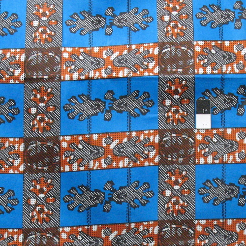 African Tribal Paw Print T-5049 Multi-Color Polished Cotton Fabric By The Yard