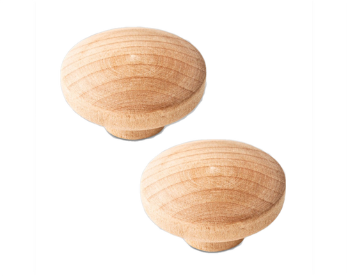 """Liberty 085-03-1797 Unfinished Wood 1 3/8"""" Round Cabinet & Drawer Knob 2 Pack"""