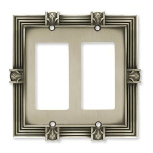 Franklin Brass 64459 Brushed Satin Pewter Pineapple Double GFCI Cover Plate