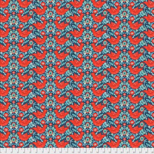 Shannon Newlin Garden Dreams PWSN010 Birds Red Cotton Fabric By Yd