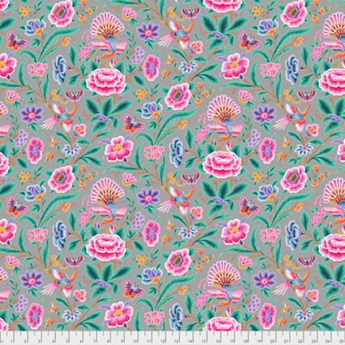 Margot Elena Stories & Songbirds PWME006 Skylark Dove Grey Fabric By Yd