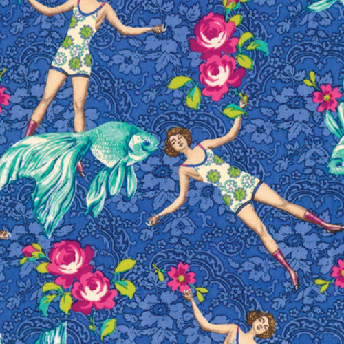 Tokyo Milk Neptune & The Mermaid What Would Poseidon Say Blue Fabric By Yd
