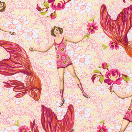 Tokyo Milk Neptune & The Mermaid What Would Poseidon Say Pink Fabric By Yd