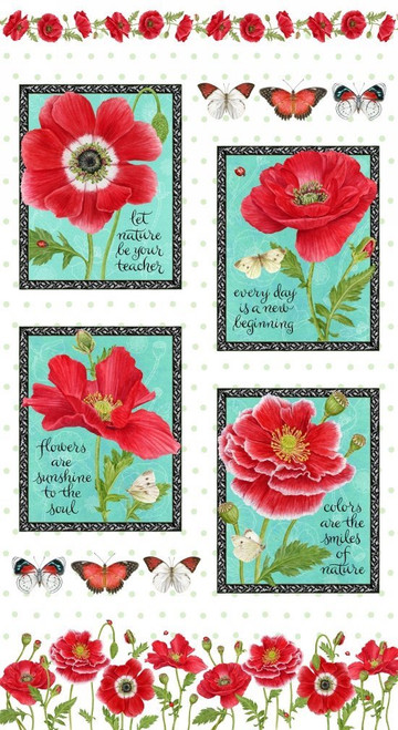 Henry Glass 1195P Poppy Perfection Panel Red Cotton Quilting Fabric By Yard