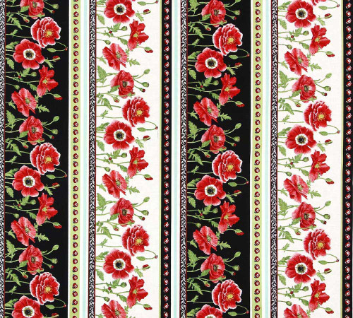 Henry Glass 11997 Poppy Perfection Lg Poppy Stripe Quilting Fabric By Yard