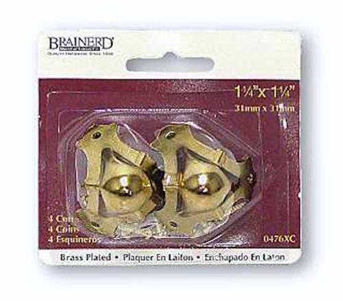 "Brainerd 476XC 1 1/4"" x 1 1/4"" Corner Protectors Brass Plate 4 Pack"