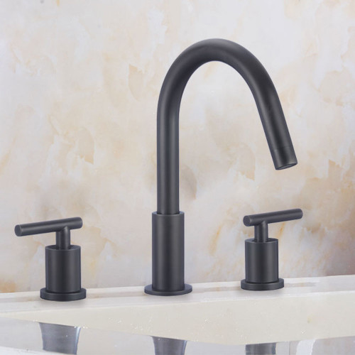 FBX Trinity 83H12-MB Trinity Bath 2 Handle Widespread Faucet Matte Black