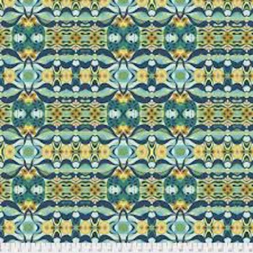 Shannon Newlin Garden Dreams PWSN0011 Wave Blue Cotton Fabric By Yd