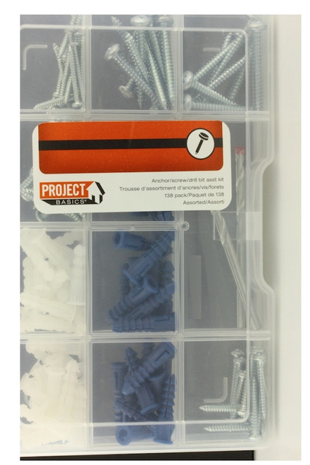 Project Basics 149132 138 Piece Utilitty Multi Pack Anchor / Screw / Drill Bit