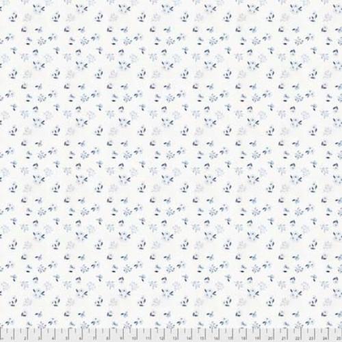 Natalie Malan Crisp Petals PWNM006 Alyssum Blue Jay Fabric By Yd