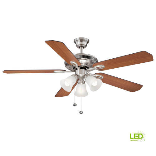 Hampton Bay Glendale II 52 in. LED Brushed Nickel Ceiling Fan w/ Light