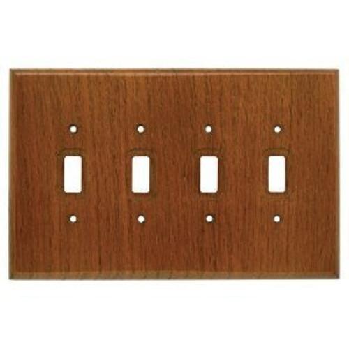 126429 Dark Oak Wood Quad Switch Cover Plate