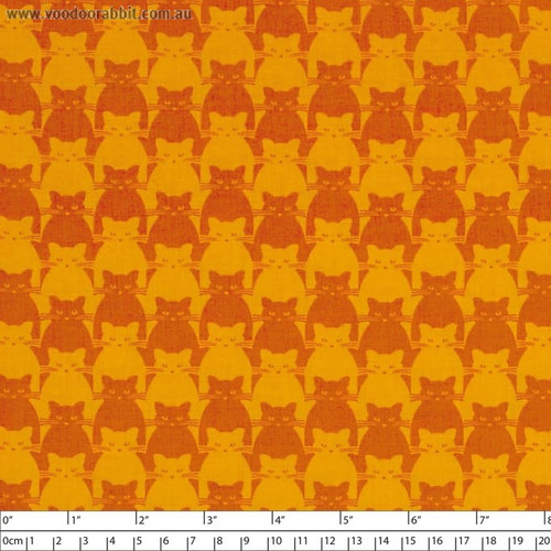 Blank Quilting 8585-33 Kitty Kitty Tonal Cat Orange Cotton Fabric By Yard