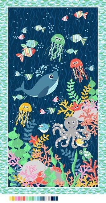 Blank Quilting 9308P-77 Sea Buddies Panel Navy Cotton Fabric By Yard
