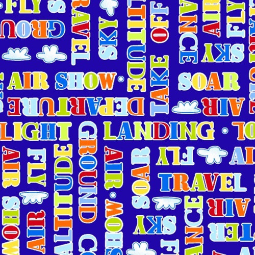 Henry Glass 1214-71 Air Show Words Blue Cotton Quilting Fabric By The Yard