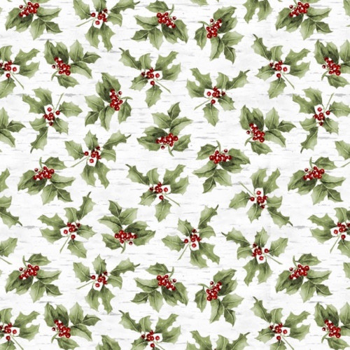 Henry Glass 1303-66 Sheltering Snowman Mistletoe Green Fabric By The Yard