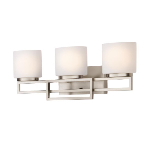 Tustana 3-Light Brushed Nickel Bathroom Vanity Light with Opal Glass Shades