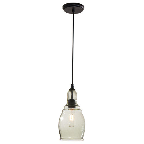 Home Decorators Collection 1-Light Black Mini Pendant with Clear Glass Shade