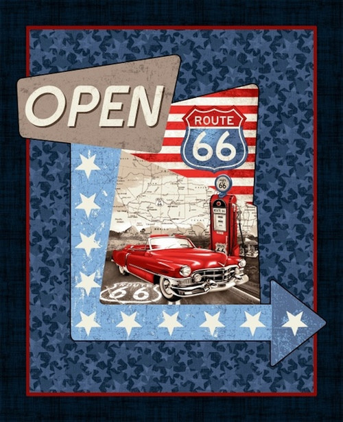 """Studio E 4312P All American Road Trip 36"""" Panel Blue Quilting Fabric By Yard"""