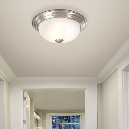 "Satin Nickel 10"" Flush Mount Ceiling Light w/ Alabaster Glass Shade 3 Pack"