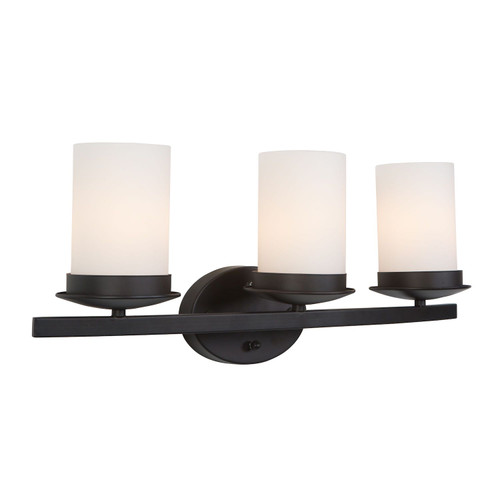 Columbia Rock 3-Light Oil Rubbed Bronze Bathroom Vanity Light w/ White Shade