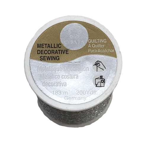Coats Metallic Silver Sewing Quilting Embroidery Thread 200 yds.