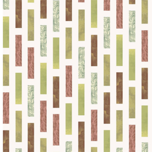 Stof Fabrics Murano Collection Rectangle Terra Cotta & Green Cotton Fabric By The Yard