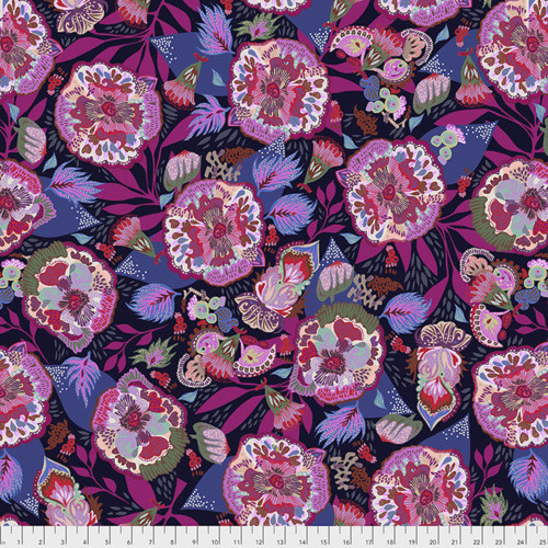 Shannon Newlin Vibrant Blooms Floral Express Lavender Cotton Fabric By The Yard