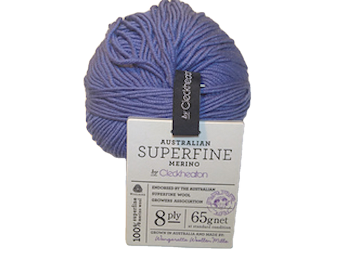 CleckHeaton Merino Super Fine 8 Ply Knitting & Crochet Yarn, Denim