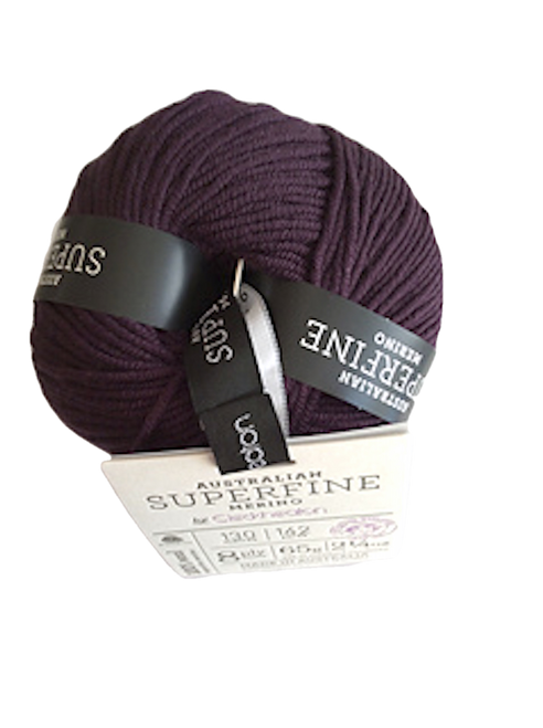 CleckHeaton Merino Super Fine 8 Ply Knitting & Crochet Yarn, Dark Grape