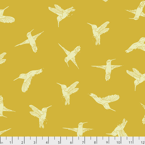 Valori Wells PWVW003 Murmur Hummingbirds Gold Cotton Fabric By Yard